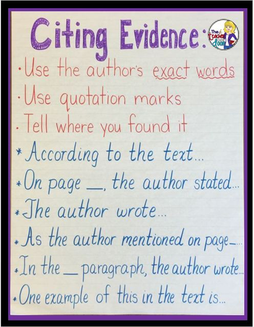 Citing Text Evidence In  Steps  Student Learning Success And Texts