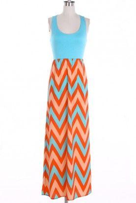 Solid Top Chevron Maxi Dress- Aqua/Peach
