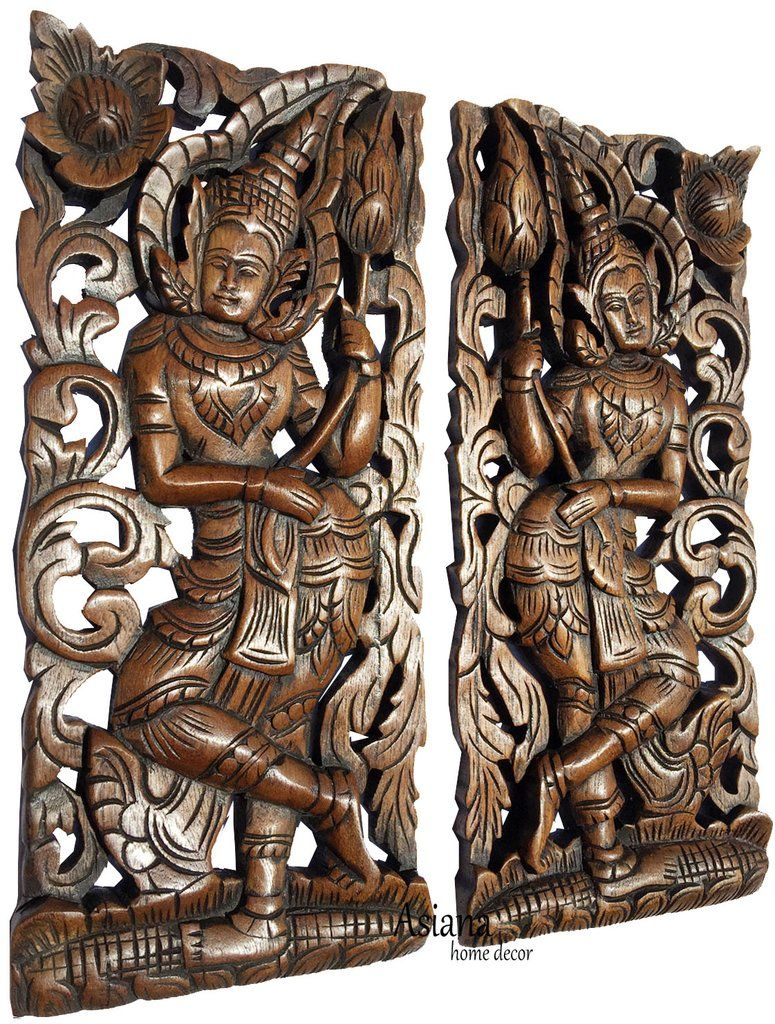 Carved Wood Wall Art Panels Asia