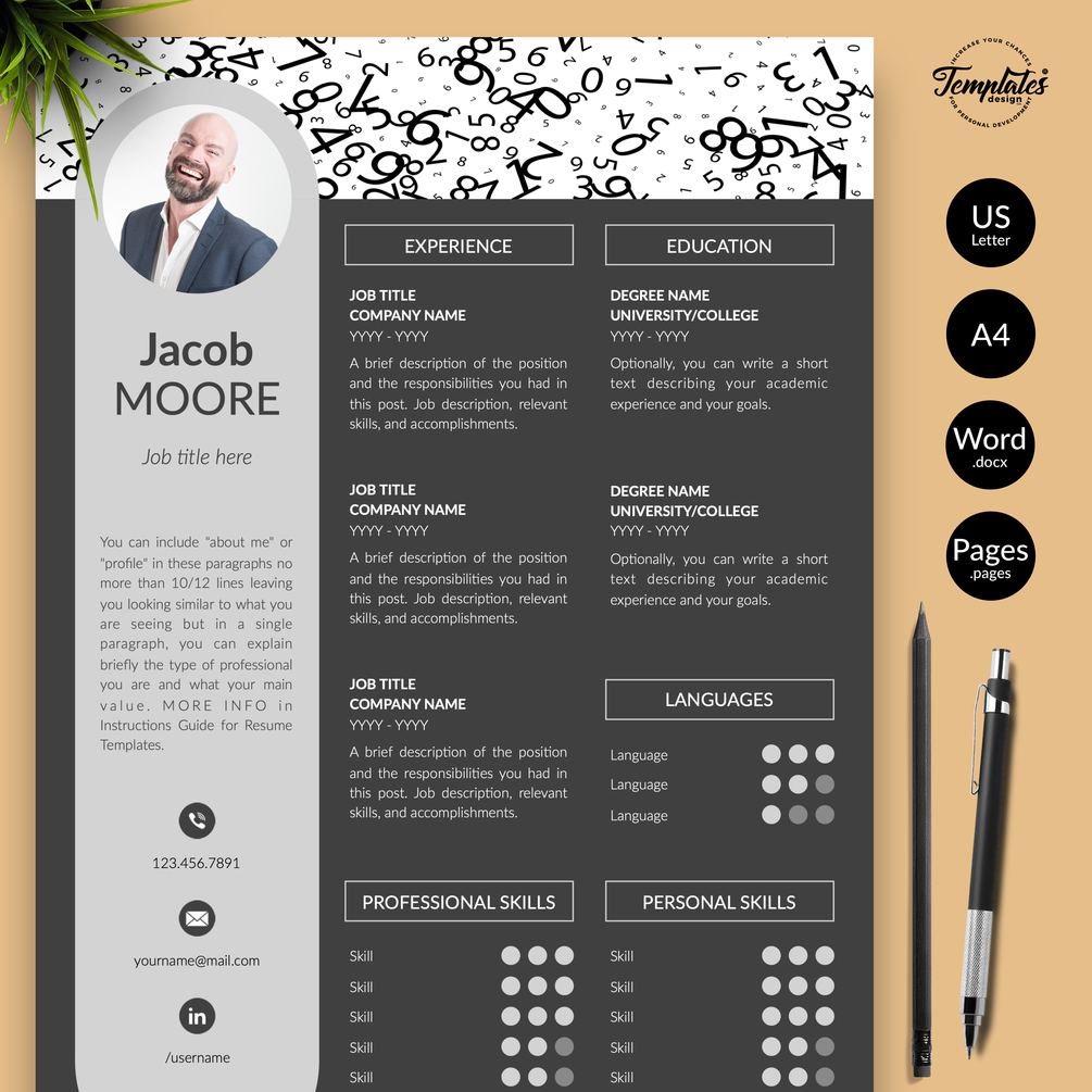 u0026quot jacob moore u0026quot  creative resume cv template for word  u0026 pages    us letter  u0026 a4 files   1  2   u0026 3