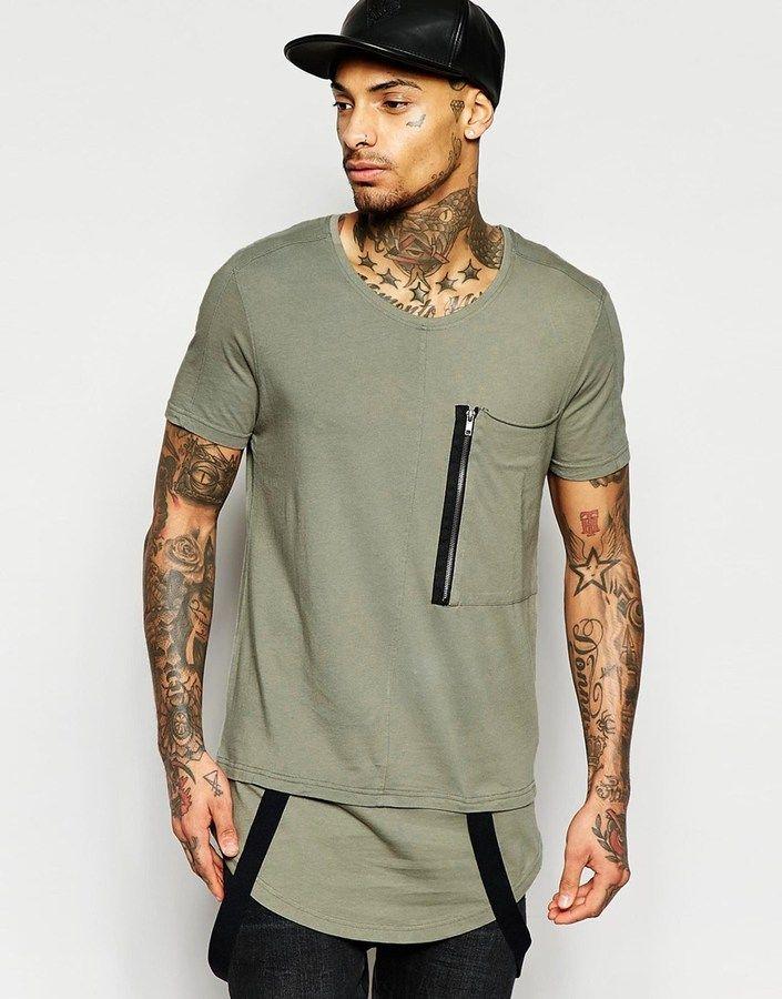 14f4a4d5a9 Black Kaviar Longline Military T-Shirt