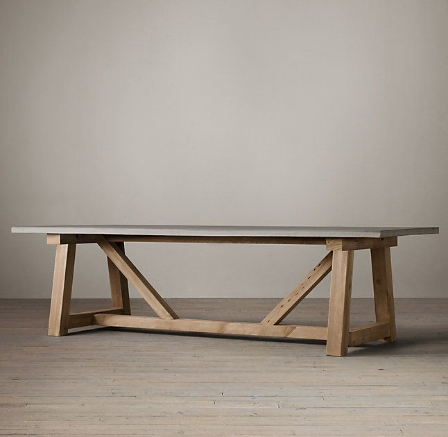Salvaged Wood Weathered Concrete Beam Rectangular Dining Table