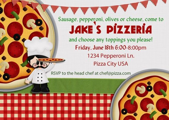 18 Pizza party birthday invitations make your own pizza party