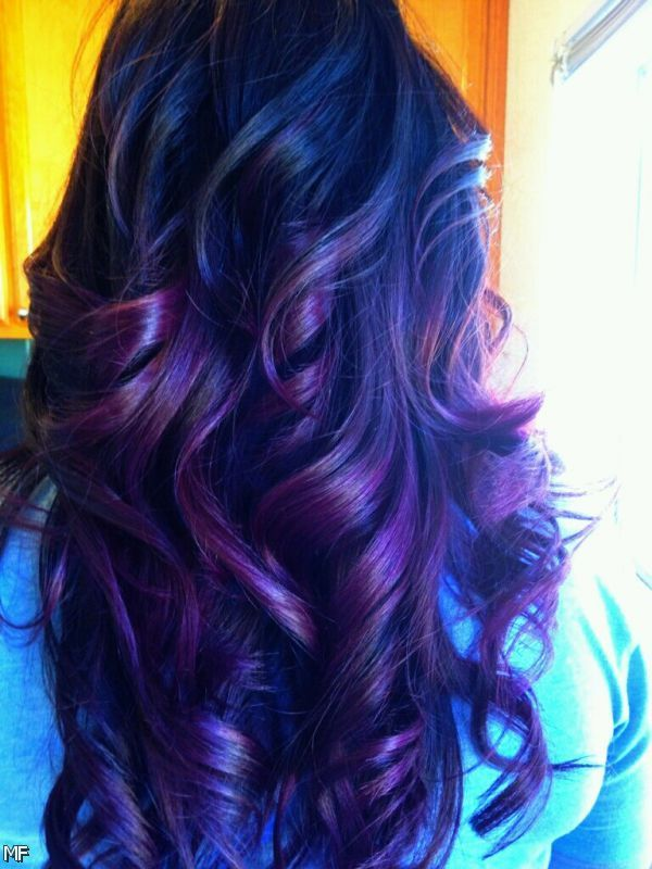 Dark Hair With Blue Highlights Dark Brown Hair With Blue Ombre