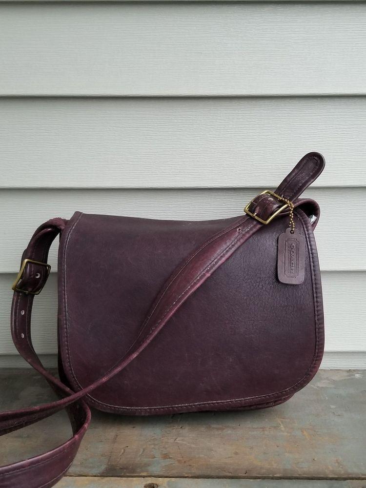 3b187862bf3b Vintage COACH Burgundy Brown Leather Flap Saddle Shoulder Crossbody Bag  Purse  Coach  SaddleBag