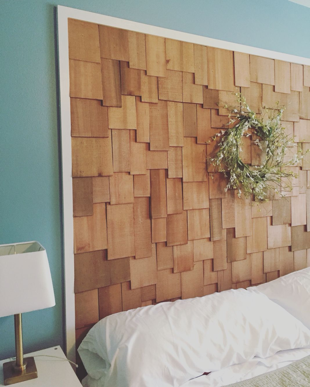 Best Our Bedroom Headboard Cedar Shakes With A White Border 400 x 300