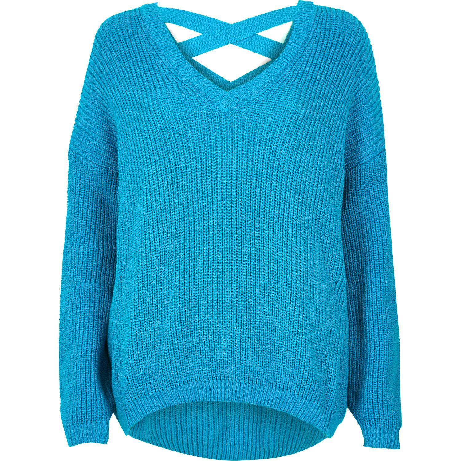 Mid weight knitwear Slouchy fit Deep V-neck Long sleeve Cross strap back detail
