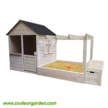 Maison enfant en bois avec pergola + Bac à sable avec toit- Couleur - Maisonnette En Bois Avec Bac A Sable