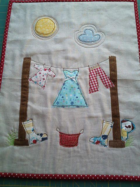 adorable clothesline applique mini quilt