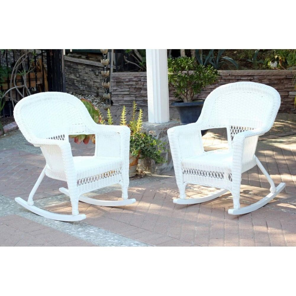 Set Of 2 Ariel White Resin Wicker Outdoor Patio Garden Rocking Chairs Products Wicker Rocking Chair Wicker Rocker Rocking Chair