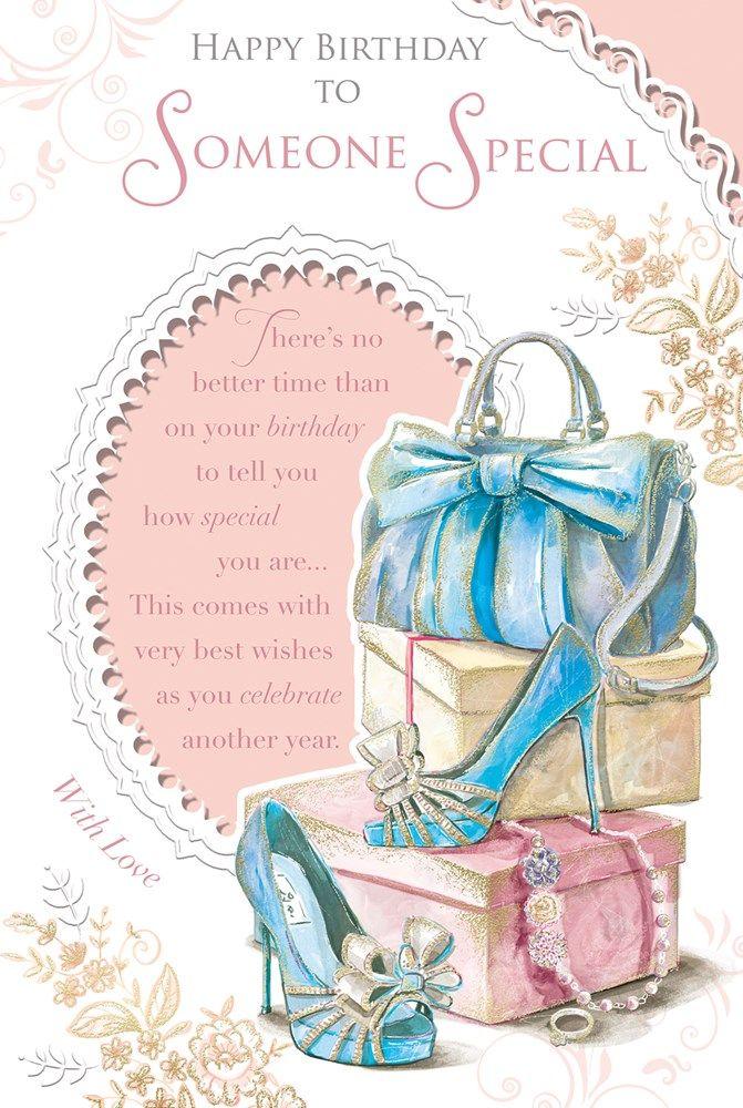 Someone Special Birthday Card Happy Birthday Blue Handbag High
