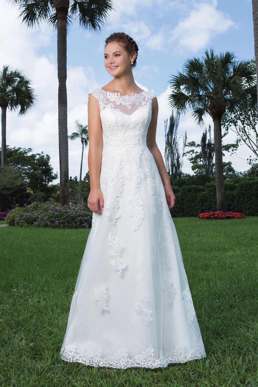 Slim aline lace wedding dress with illusion portrait neckline style
