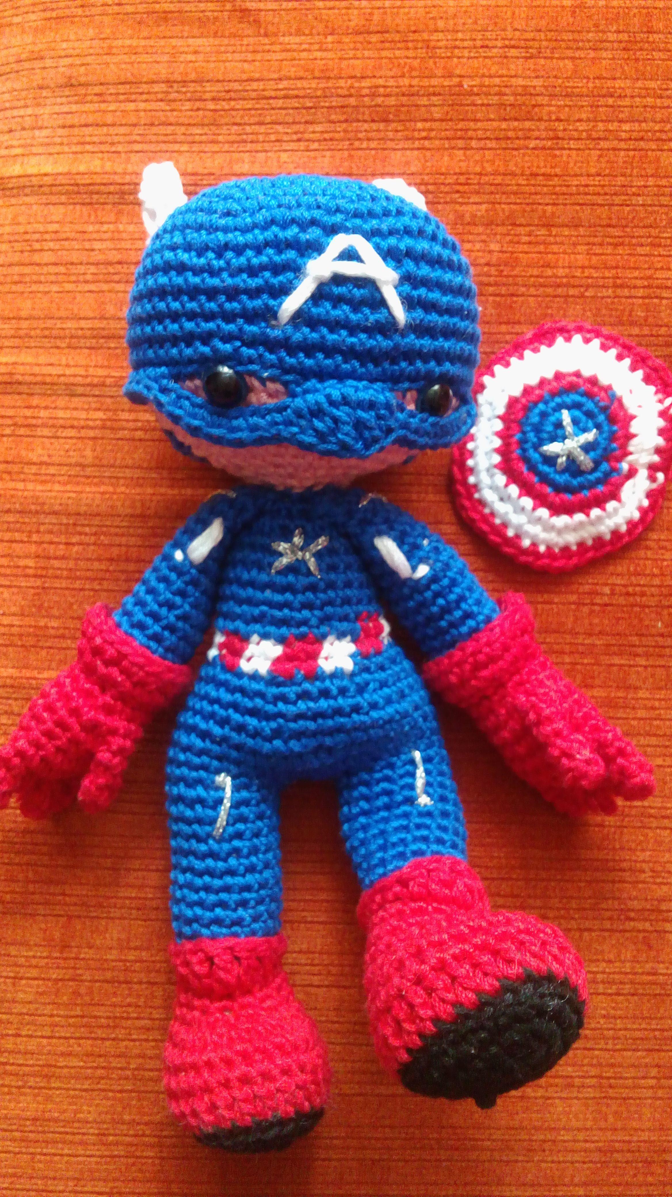 Amigurumi Capitán América, Chofisgurumis tejido a gancho, hecho a mano, hecho en México, Tonanitla.