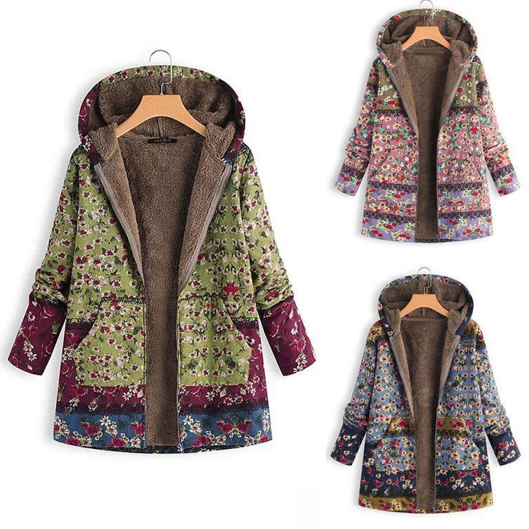 Plus Size Womens Hooded Jackets Ladies Winter Warm Zipper Parka Coats Outwear