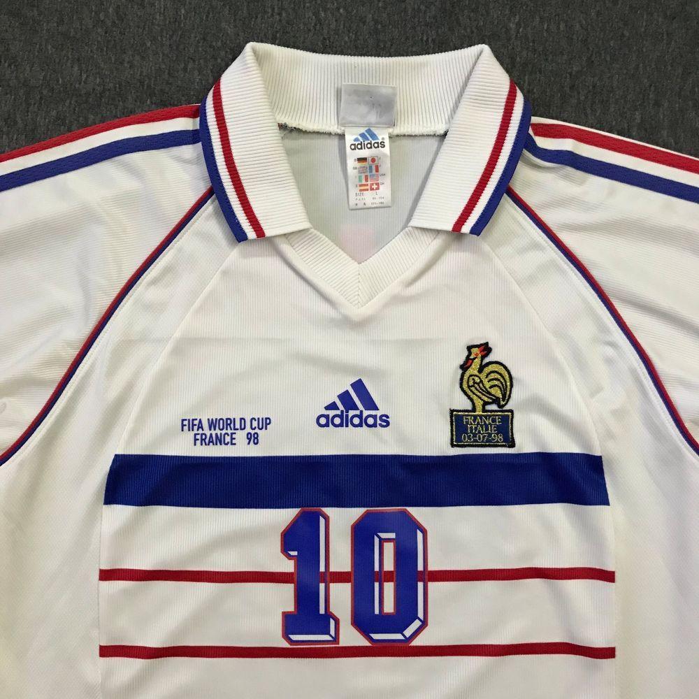Vtg Adidas France 1998 Fifa World Cup Away Vs Italy Football Shirt Jersey Zidane Ebay Balones Futbol Francia