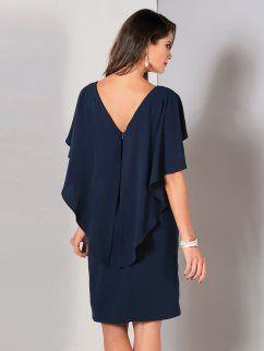 5e23f47b1aa Vestido de fiesta mujer con elegante capa en mangas y espalda