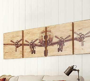 Artwall decor planked airplane panels set of 4 pottery barn recreate with print enlarged and then transferred to canvas or wood prop plane wall art very cool pair with some plane decor from restoration hardware malvernweather Images