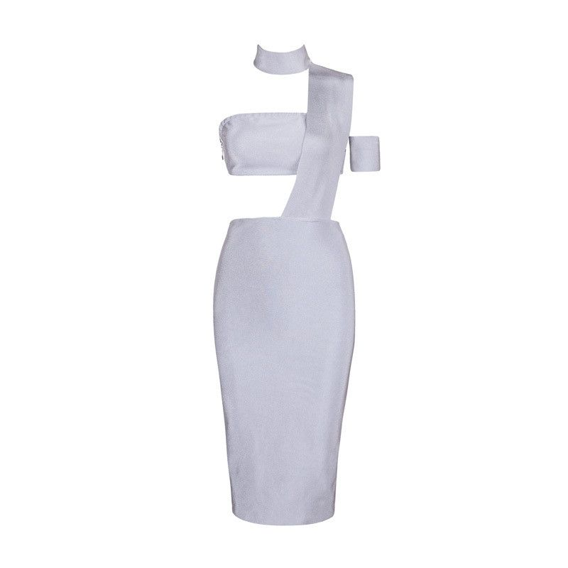 Honey Couture - Silver Cut Out Bandage Dress