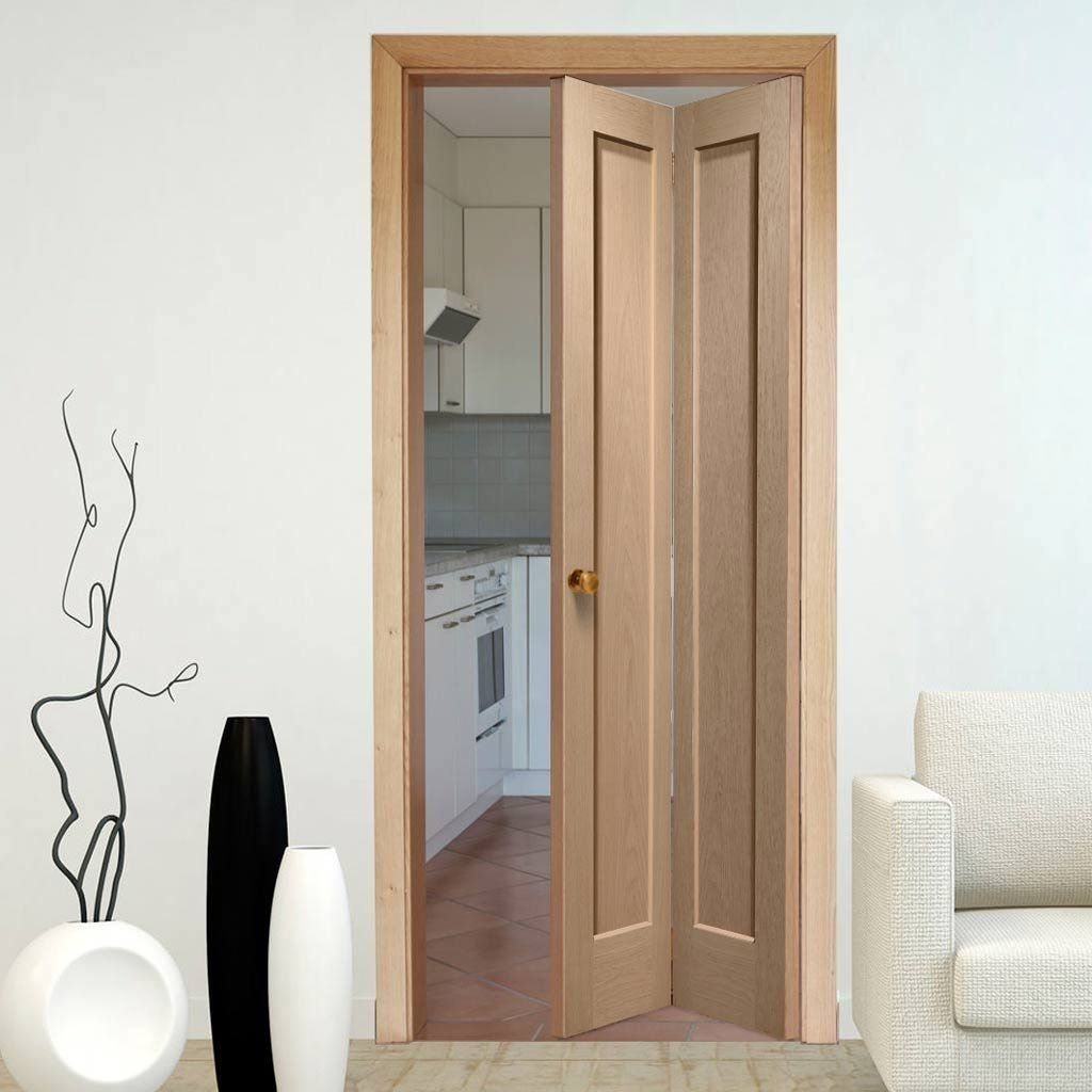 A Pattern 10 Oak Bi Fold Door Will Look Great In Your Home These Doors Are Very Long Lasting When Th Oak Bifold Doors Wood Doors Interior Kitchen Door Designs