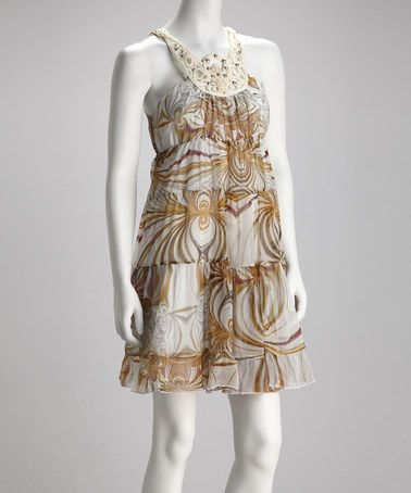 Take a look at this Brown & Beige Tiered Dress by Madison Paige: Dresses on #zulily today! for honeymoon or shower or...