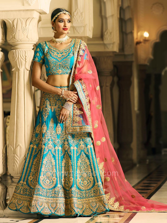 d627d9d6c8 Bridal Embroidered Lehenga Choli in Peacock Blue #rajwadi #lehengacholi  #weddingseason #weddingdress #embroidery #lehenga #ethnicwear #bridalwear  ...