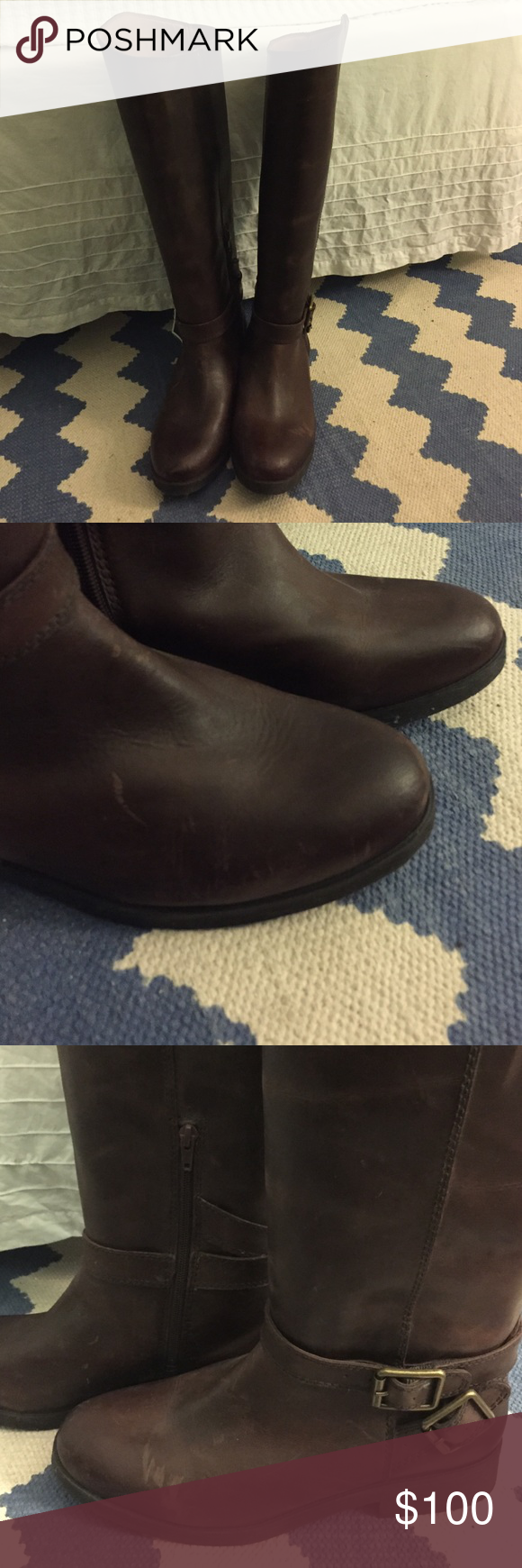 NWOT Lucky Brand Riding Boots Really cute brown leather riding boots. Inside ankle zip to make them easier to put on. I've had these a few years and there are some marks on them from being in my closet. They're really great boots, but I have a bit of a boot obsession so these unfortunately have never been worn. Lucky Brand Shoes