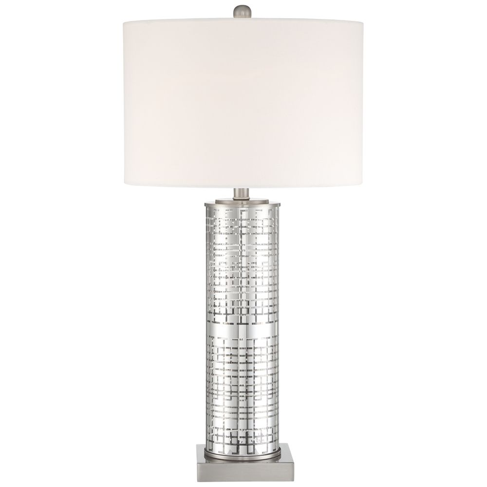 Novak Silver Glass Cylinder Table Lamp Style 64h53 Table