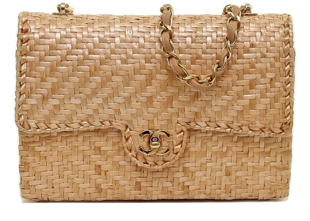 4cc11f2bc42076 Chanel Classic Rattan Wicker Single Flap Gold HW Leather Shoulder Bag  Vintage #CHANEL #ShoulderBag