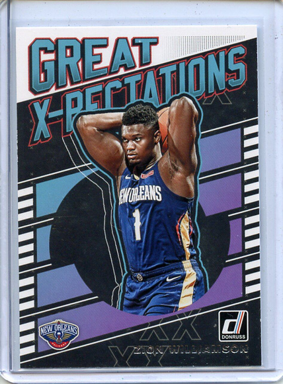 Zion Williamson 2019 20 Donruss Great X Pectations 7 In 2020 Sports Cards Basketball Pictures Basketball Players