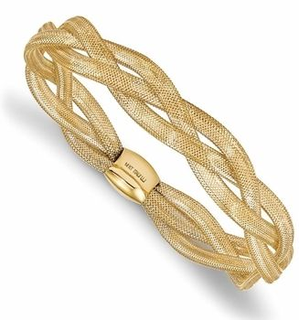Italian Soft 14k Gold Mesh Stretch Bangle Bracelet Jewelry I Like