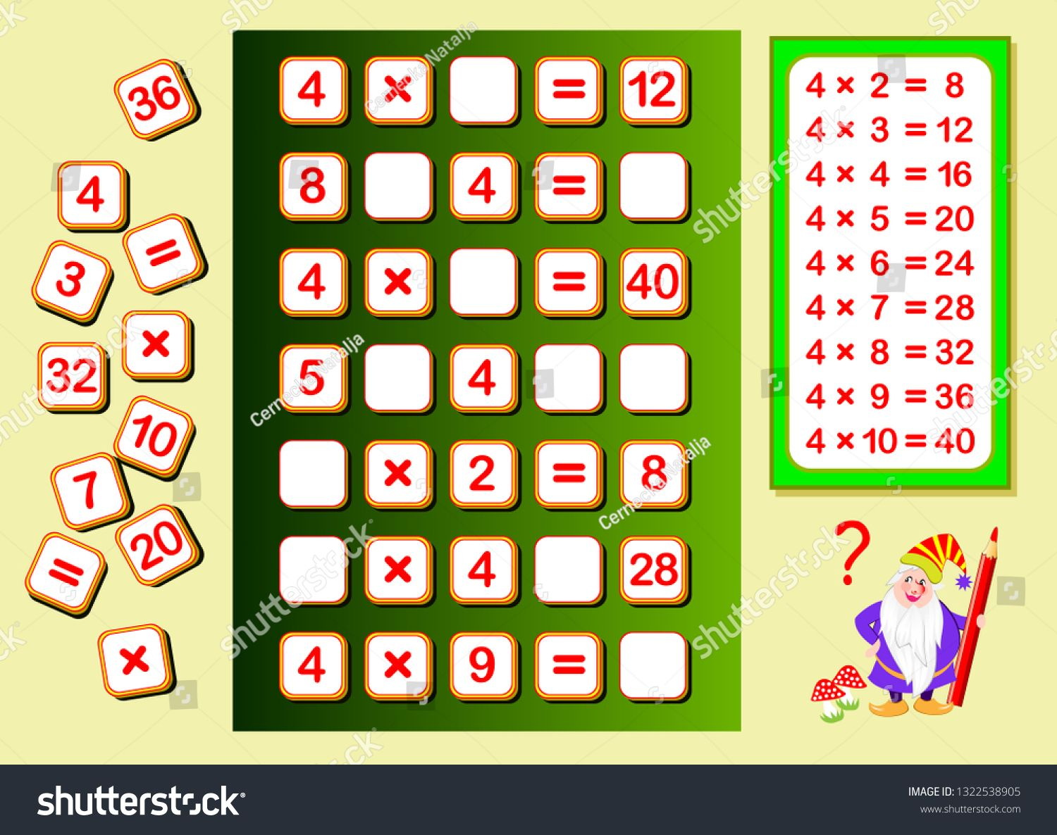 Multiplication Table By 4 For Kids Find Places For