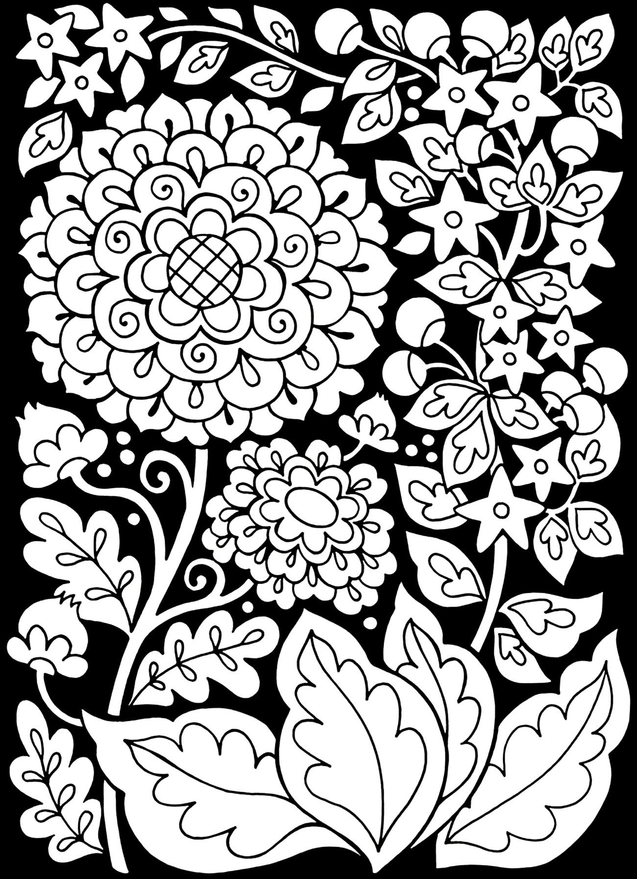 Free Coloring Page Coloring Adult Flowers Black Background Flowers