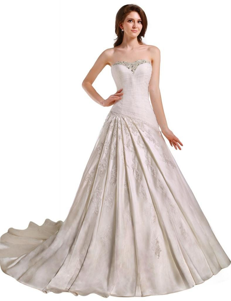 c3da85c2bf GEORGE BRIDE Strapless Beaded Bodice Satin Court Train Wedding Dress at  Amazon Women s Clothing store  Wedding Dresses For Bride