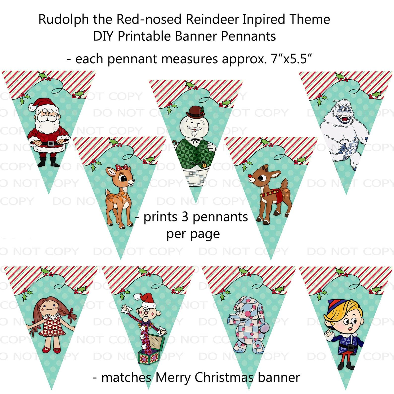 Rudolph Christmas 2020 Banner Printable DIY Rudolph Movie Inspired Party Banner Pennants | Etsy
