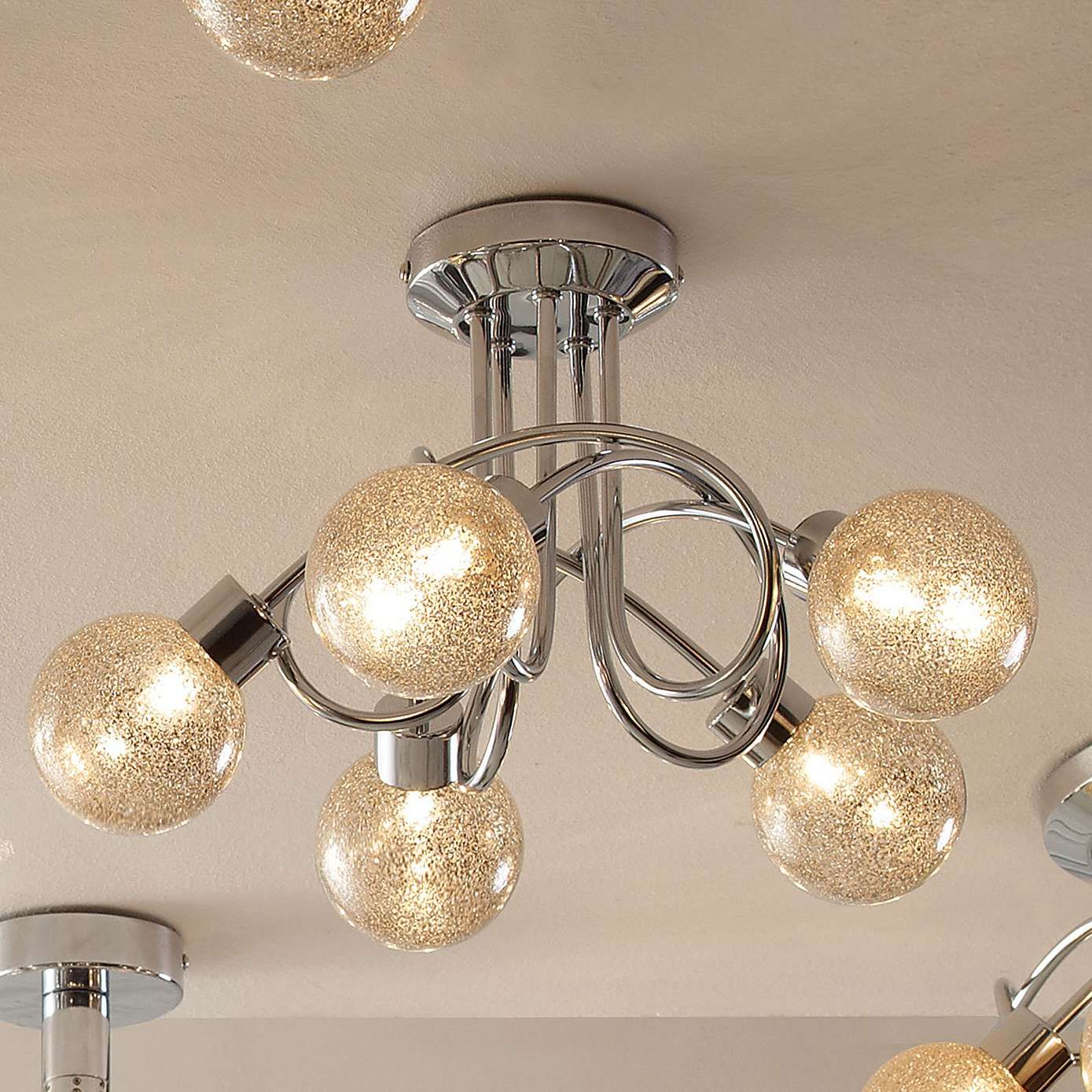 Glitter Ball 5 Light Chrome Ceiling Fitting Dunelm