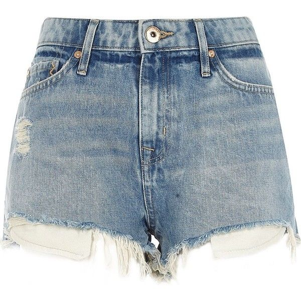 Womens Light Blue ripped hot pants River Island Clearance Get To Buy HqZIRo