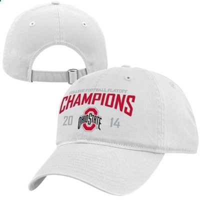 Ohio State Buckeyes Top of the World 2014 College Football Playoff National Champions Adjustable Hat - White