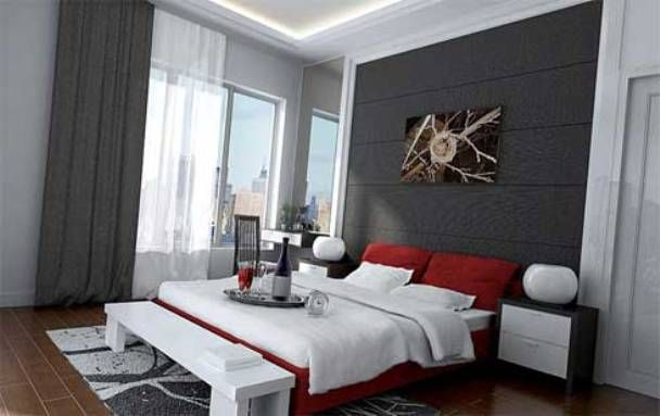 Bedroom. Red And Gray Bedroom Ideas Ith Long Curtains: Casual But Modern  Gray Modern