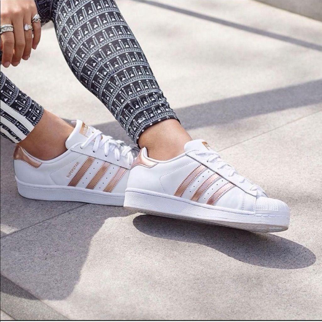 adidas Shoes | Metallic Rose Gold Adidas Superstars | Color ...