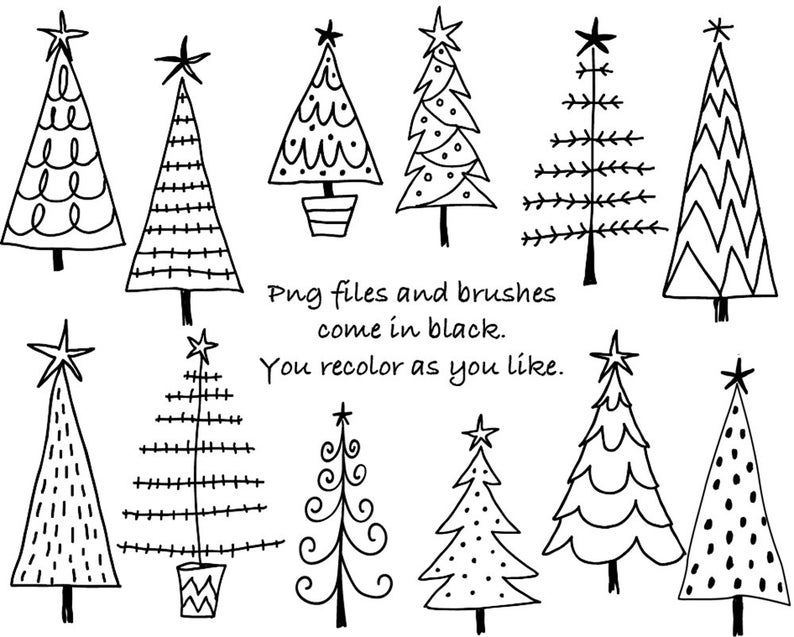 Doodle Christmas Trees Digital Clipart, Photoshop CS4+ Layered Files, Brushes & Stamps. Instant Download. Personal, Limited Commercial Use.
