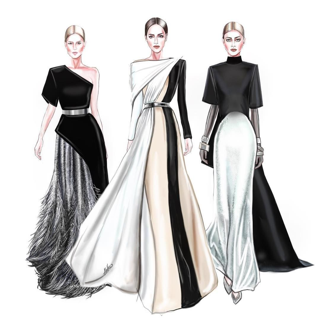 Image May Contain 3 People Fashion Illustration Dresses Fashion Illustration Sketches Dresses Illustration Fashion Design