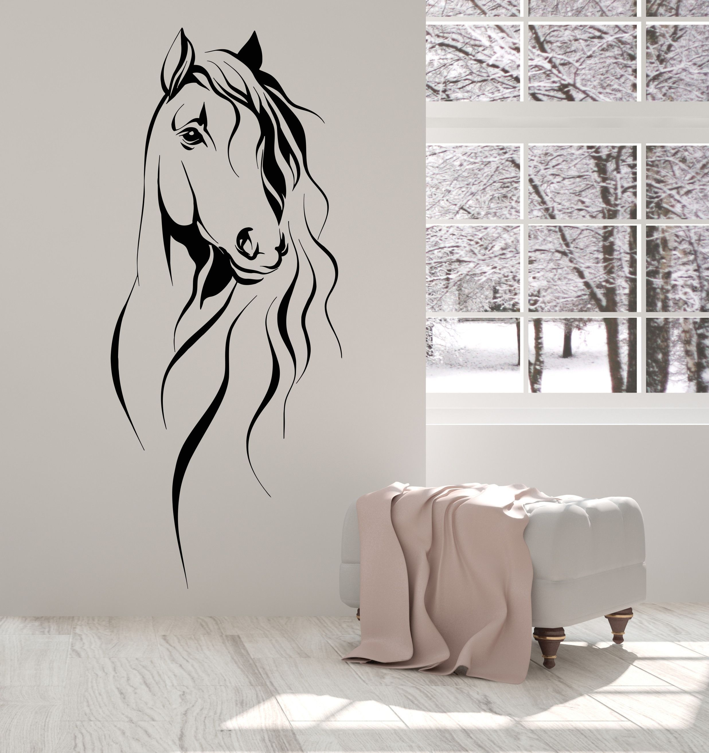 Vinyl Wall Decal Horse Head Pet Animal Art Decor Stickers Unique Gift 1393ig Wall Decor Stickers Horse Themed Bedrooms Vinyl Wall Decals