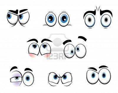 Conjunto de ojos divertidos dibujos animados para diseo de comics