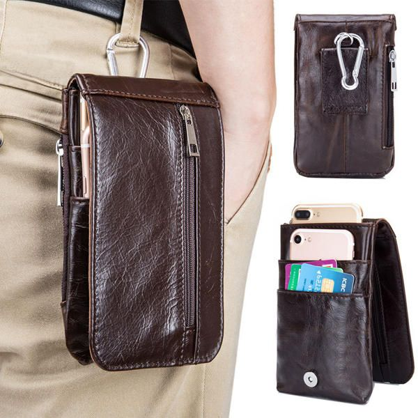 5.5inches Men Buiness Genuine Leather Waist Bag Mobile Phone Case - US$9.75