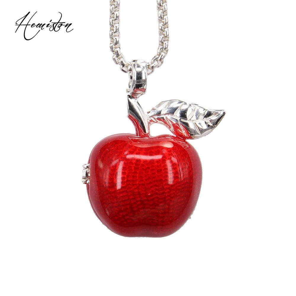 apple necklace. thomas locket openable red apple pendant necklace, european bijoux jewelry gift for women and men necklace