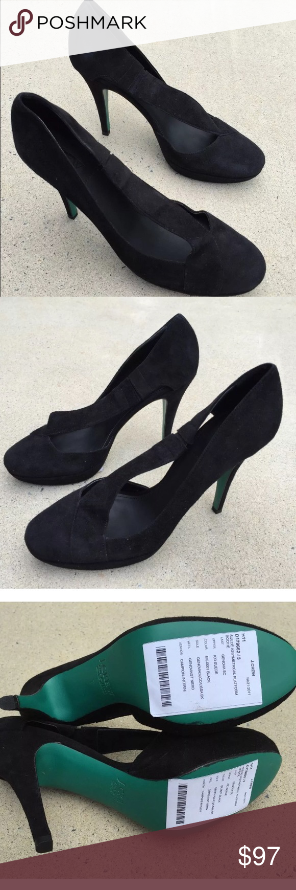 eea8839edaf J Crew Italy 7 black suede leather pumps heels New without box