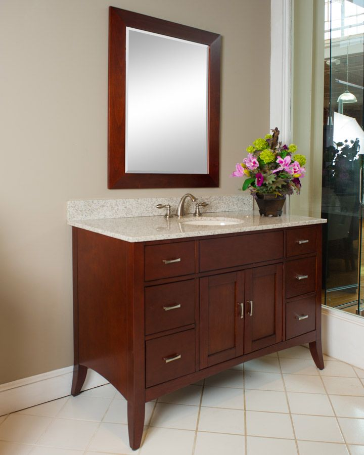 Kaco Metro 48 Inch Traditional Bathroom Vanity Brown Cherry Finish Interesting Cherry Bathroom Vanity Inspiration