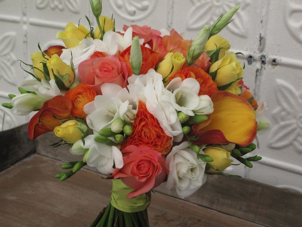 Yellow And White Flower Arrangements White Orange Yellow And Coral