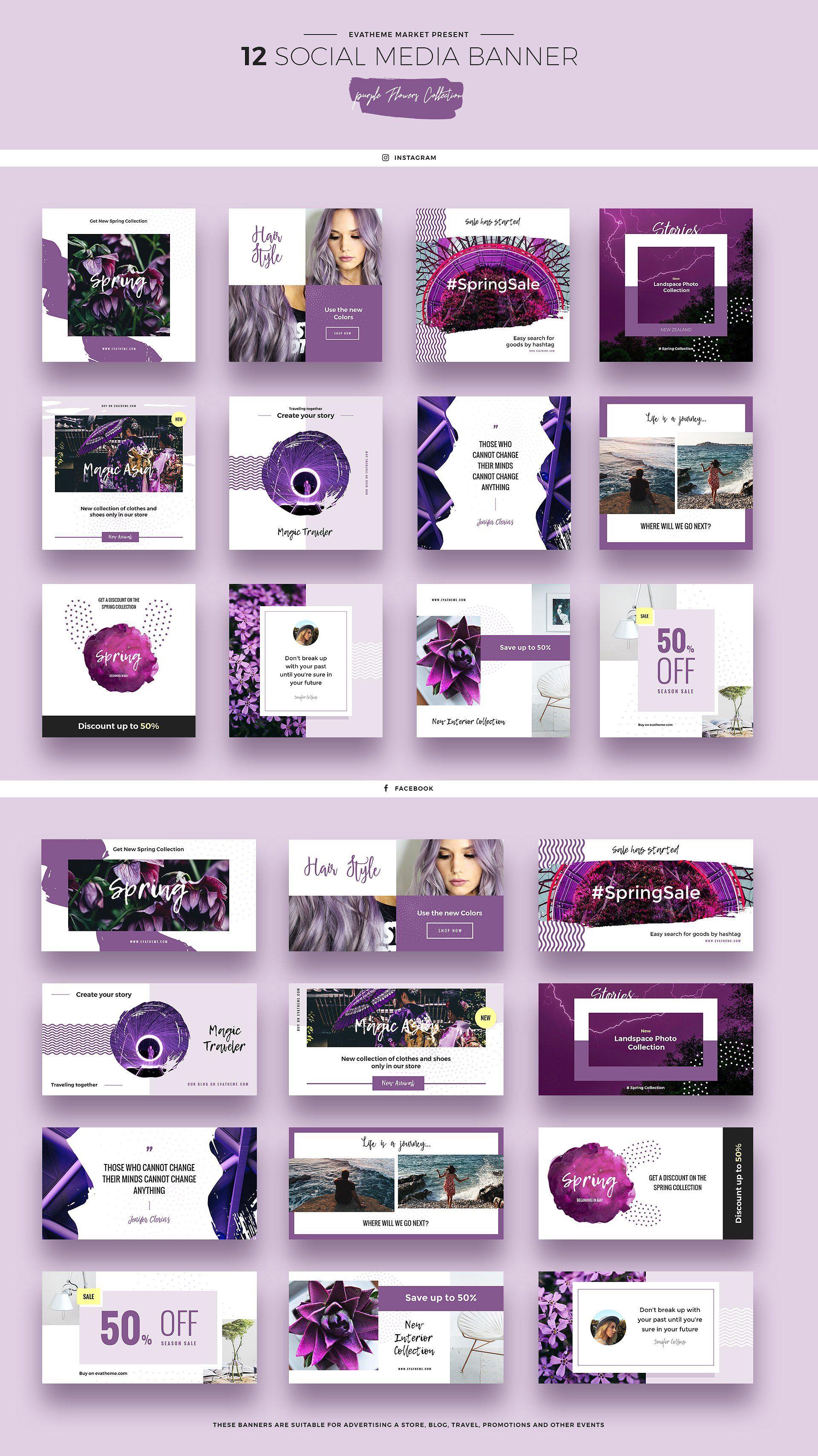 purple flowers social media designs templates psd social media