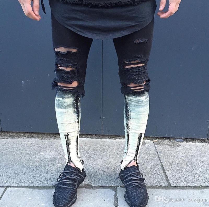 Men skinny ankle zipper ripped jeans justin bieber fear of god style denim  pants mens black